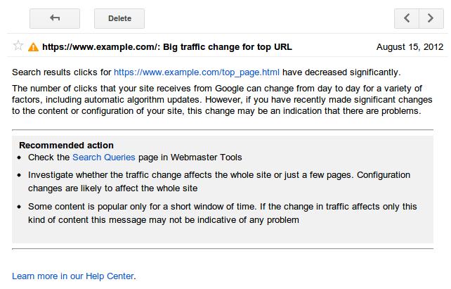 התראות שאילתות חיפוש ב-Webmaster Tools